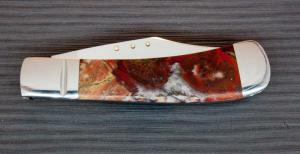 Red Lace Agate Clip Point Slip Joint